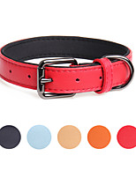 cheap -Dog Collar Adjustable Retractable Durable Outdoor Walking Solid Colored Classic PU Leather Medium Dog Red Orange Beige Dark Blue Light Blue 1pc