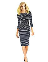 cheap -women's striped pencil dress 3/4 sleeve business dress autumn winter long sleeve t-shirts long tee shirts(navy s)
