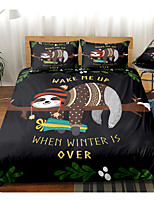 cheap -Cartoon Sloth 3-Piece Duvet Cover Set Hotel Bedding Sets Comforter Cover with Soft Lightweight Microfiber For Holiday Decoration(Include 1 Duvet Cover and 1or 2 Pillowcases)