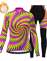 cheap -21Grams Women's Long Sleeve Cycling Jersey with Tights Winter Fleece Polyester Purple Bike Clothing Suit Fleece Lining Breathable 3D Pad Warm Quick Dry Sports Graphic Mountain Bike MTB Road Bike