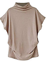 cheap -summer tops for women short sleeve turtle neck casual loose blouse solid color t shirts (khaki, 4x-large)
