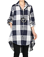 cheap -women's linen plaid blouses loose button-down shirts roll-up sleeve tunic tops (2xl, navy blue)