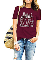 cheap -womens summer funny graphic vintage t shirt if my mouth doesn't say it then my face definitely will casual tees tops burgundy