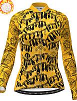 cheap -21Grams Women's Long Sleeve Cycling Jacket Winter Fleece Polyester Yellow Bike Jacket Top Mountain Bike MTB Road Bike Cycling Thermal Warm Fleece Lining Breathable Sports Clothing Apparel / Stretchy