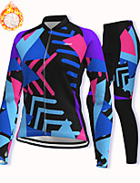 cheap -21Grams Women's Long Sleeve Cycling Jacket with Pants Winter Fleece Spandex Blue Bike Fleece Lining Warm Sports Graphic Mountain Bike MTB Road Bike Cycling Clothing Apparel / Stretchy / Athleisure