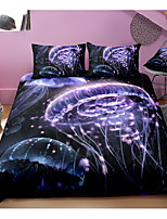 cheap -Luminous Jellyfish Print 3-Piece Duvet Cover Set Hotel Bedding Sets Comforter Cover with Soft Lightweight Microfiber For Holiday Decoration(Include 1 Duvet Cover and 1or 2 Pillowcases)