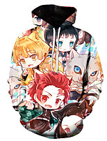cheap -Inspired by Demon Slayer Kamado Tanjirou Cosplay Costume Hoodie Polyester / Cotton Blend Graphic Prints Printing Hoodie For Men's / Women's