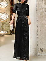 cheap -A-Line Vintage Sparkle Wedding Guest Formal Evening Dress High Neck Half Sleeve Floor Length Sequined with Sequin 2020
