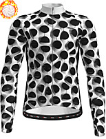 cheap -21Grams Men's Long Sleeve Cycling Jersey Winter Fleece Polyester Black / White Bike Jersey Top Mountain Bike MTB Road Bike Cycling Fleece Lining Breathable Warm Sports Clothing Apparel / Stretchy