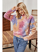 cheap -Women's T-shirt Tie Dye Long Sleeve Round Neck Tops Basic Basic Top Purple