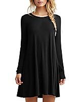 cheap -women summer stretch loose casual t-shirt dress swing dress (black-long sleeve, xl)