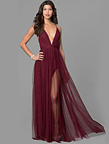 cheap -Women's Swing Dress Maxi long Dress - Sleeveless Solid Color Backless Ruched Zipper Spring Fall Boat Neck Elegant Vintage Party Going out 2020 Wine S M L XL / Lace