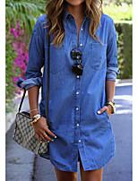cheap -Women's Sheath Dress Short Mini Dress - Long Sleeve Solid Color Patchwork Spring Fall Shirt Collar Casual Loose 2020 Blue S M L XL XXL
