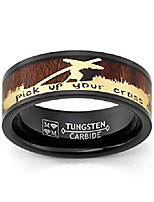 cheap -men's christian tungsten ring jesus carrying cross bible verse wood inlay 8mm goldtone size 13