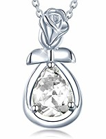 cheap -agvana fine jewelry april birthstone necklace for women sterling silver simulated diamond rose flower pendant necklace anniversary birthday gifts for girls her wife mom grandma daughter yourself