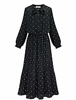 cheap -njunicon uncle women's polka dot long sleeve pleated long maxi dress tie neck sashes casual swing chiffon party dress (black,xl)