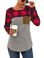 cheap -women's red gray buffalo plaid neck long sleeve patchwork blouse top curve hem tunic