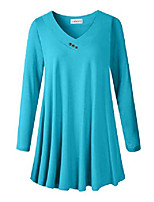 cheap -women plus size tunic tops long sleeve v neck blouse loose swing basic flowy t shirt for leggings, lake blue 3x
