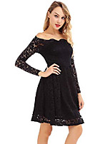 cheap -women's off shoulder long sleeve knee length cocktail skater dress black m
