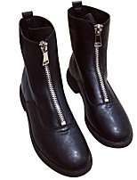 cheap -Women's Boots Chunky Heel Round Toe Casual Daily Walking Shoes PU White Black / Mid-Calf Boots