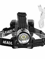 cheap -rechargeable comfortable headband head lights led headlamp lightweight super bright hiking(black)