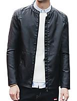 cheap -men's zip up faux leather pu jacket outerwear (large, black)