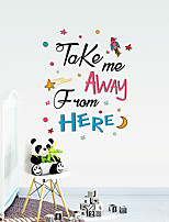 cheap -TAKE Spaceship Cartoon With Colorful English Letters Can Remove Stickers Decorating The Wall Of Children's Room And The Background Wall Of European And American Tv