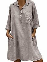 cheap -womens dresses, shobdw women's solid boho beach turn-down collar shorts sleeve clothes casual linen pocket button summer dress (khaki,16)