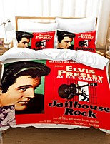 cheap -Elvis Presley 3-Piece Duvet Cover Set Hotel Bedding Sets Comforter Cover with Soft Lightweight Microfiber, Include 1 Duvet Cover, 2 Pillowcases for Double/Queen/King(1 Pillowcase for Single)