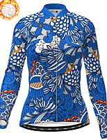 cheap -21Grams Women's Long Sleeve Cycling Jacket Winter Fleece Polyester Blue Bike Jacket Top Mountain Bike MTB Road Bike Cycling Thermal Warm Fleece Lining Breathable Sports Clothing Apparel / Stretchy