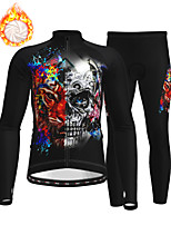cheap -21Grams Men's Long Sleeve Cycling Jersey with Tights Winter Fleece Polyester Black Skull Bike Clothing Suit Thermal Warm Fleece Lining Breathable 3D Pad Warm Sports Graphic Mountain Bike MTB Road