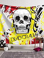 cheap -Wall Tapestry Art Decor Blanket Curtain Hanging Home Bedroom Living Room Decoration Polyester Fiber Novelty Still Life Skull Skull Black And White Yellow Red
