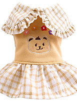 cheap -Dog Dress Plaid Bear Elegant Cute Casual / Daily Dog Clothes Puppy Clothes Dog Outfits Breathable Yellow Costume for Girl and Boy Dog Polyester XS S M L XL