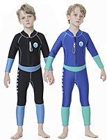 cheap -Boys' Full Wetsuit 2.5mm SCR Neoprene Diving Suit Quick Dry Long Sleeve Front Zip Patchwork Autumn / Fall Spring Summer / Kids
