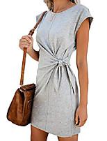 cheap -womens casual draped dress cotton cozy dress summer short sleeve knee length dress grey l