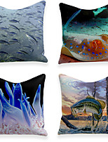 cheap -Cushion Cover 4PC Linen Soft Decorative Square Throw Pillow Cover Cushion Case Pillowcase for Sofa Bedroom 45 x 45 cm (18 x 18 Inch) Superior Quality Machine Washable