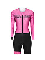 cheap -Men's Women's Long Sleeve Triathlon Tri Suit Polyester Pink Bike Clothing Suit Breathable 3D Pad Quick Dry Reflective Strips Sweat-wicking Sports Graphic Road Bike Cycling Clothing Apparel / Stretchy