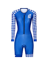 cheap -Men's Women's Long Sleeve Triathlon Tri Suit Polyester Blue Bike Clothing Suit Breathable 3D Pad Quick Dry Reflective Strips Sweat-wicking Sports Graphic Mountain Bike MTB Road Bike Cycling Clothing