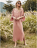 cheap -Women's Shift Dress Maxi long Dress - Long Sleeve Solid Color Split Ruched Lace up Spring Summer Casual Boho Going out Loose 2020 Blushing Pink S M L XL