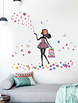 cheap -Beautiful Girl Birdcage Butterfly Flower Home Background Children Room Background Decoration Can Remove Stickers