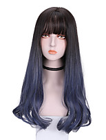 cheap -Synthetic Wig Curly With Bangs Wig Long Blue Synthetic Hair 24 inch Women's Cool Color Gradient Fluffy Blue