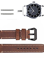 cheap -brown 20mm 22mm 24mm genuine leather watch band crazy cowhide leather strap for black buckles (20mm)