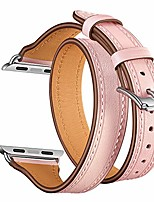 cheap -watch strap, slim fit double tour genuine leather replacement band 38mm 40mm 42mm 44mm compatible with apple watch series 4 3 2 1 (pink, 44mm)