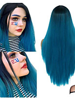 cheap -Synthetic Wig Straight Middle Part Wig Long Black / Blue Synthetic Hair Women's Soft Color Gradient Black Blue