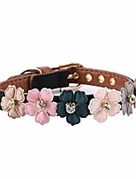 cheap -soft pu leather dog collar adjustable daisy flowers pet collars fashion bling bling cat rhinestone bowtie for small medium sized cat dog (black 1.3 × 42cm)