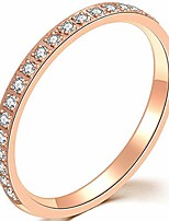 cheap -3mm stainless steel half eternity wedding band stackable ring (rose gold, 6)