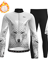 cheap -21Grams Men's Long Sleeve Cycling Jersey with Tights Winter Fleece Polyester Grey Wolf Bike Clothing Suit Thermal Warm Fleece Lining Breathable 3D Pad Warm Sports Graphic Mountain Bike MTB Road Bike