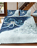 cheap -Octopus Print 3-Piece Duvet Cover Set Hotel Bedding Sets Comforter Cover with Soft Lightweight Microfiber, Include 1 Duvet Cover, 2 Pillowcases for Double/Queen/King(1 Pillowcase for Twin/Single)
