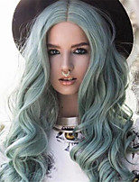cheap -Synthetic Wig Curly Middle Part Wig Long Mint Green Synthetic Hair Women's Fashionable Design Soft Cool Green