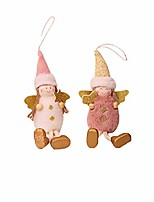 cheap -2pcs christmas trees angel hanging toys - christmas tree decorations cute plush girl angel hanging ornaments doll, xmas home ornaments holiday new year gifts for kids toddlers (as shown)